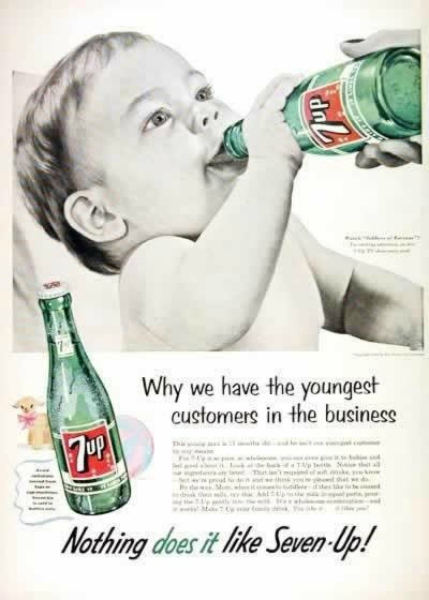 bebis dricker läsk i annons
